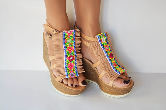Boho wedge sandals, colorful sandals, Cork wedged heel, Beaded sandals, Fringed sandals, Handcrafted Greek sandals ''Show girl''