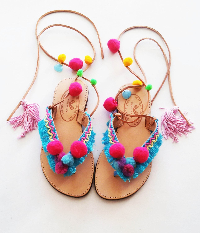 dc9265855a15 Girl s Tie Up Boho Sandals Baby Pom Pom Sandals