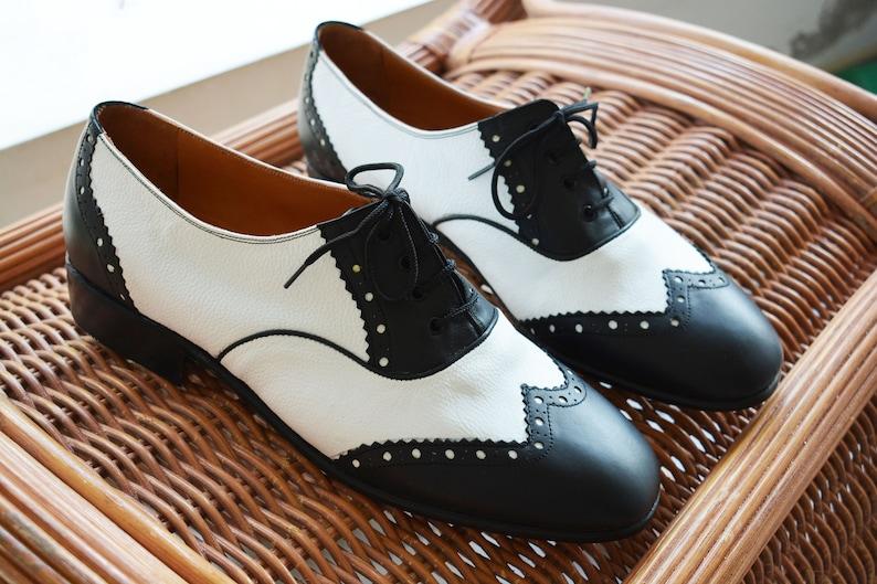 Mens Vintage Shoes, Boots | Retro Shoes & Boots Mens Black & White Mens Brogues Mens Oxford leather shoes Mens Swing shoes Mens Oxford Vintage Shoes Mens Dress shoes Gatsby shoes $148.00 AT vintagedancer.com