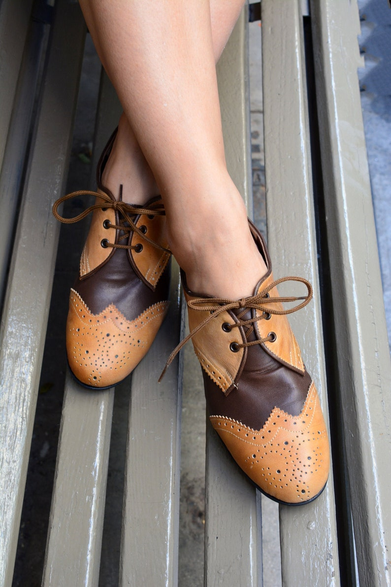 Retro Vintage Flats and Low Heel Shoes Oxford leather shoes Swing brown & tabac brogues Oxford Ties Shoes Vintage shoes Retro dance shoes Triple step $148.49 AT vintagedancer.com