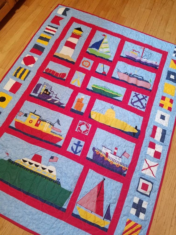 patchwork cotton bed boy/'s bedding set sea boats crib bedding baptism baby shower gift Patchwork sea pillowcase for kids and toddler