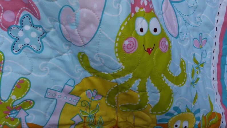 Mermaid Crib Quilt Baby Girl Ocean Beach Theme Crib Bedding Toddler Cot Bedding Fish Octopus Treasure Chest Seahorse