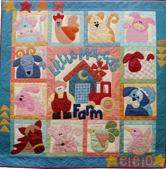 Farm Applique Crib Quilt Farm Animals Crib Cow Pig Horse