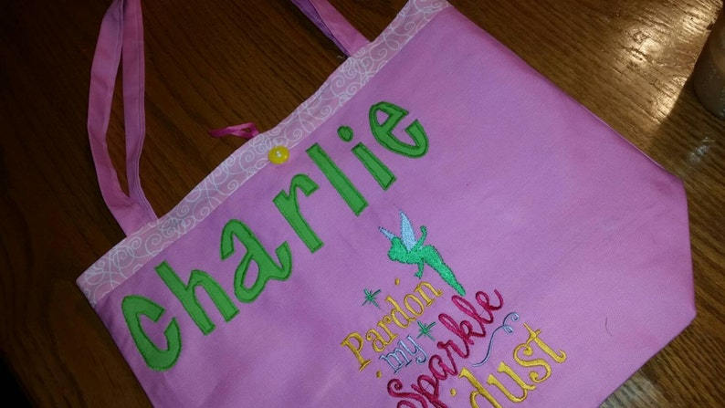 Canvas Tote Bag Tinkerbell Tote Bag Kids Tote Bag Large Personalized Girl Tote Bag Personalized Tote for Kids Daycare Tote Bag