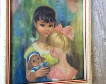 Vintage Big Eye Soulet Framed print of Little Girls with a doll