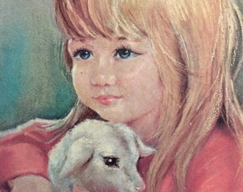 Vintage Big Eye Girl with Lamb Framed Print