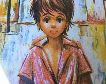 Vintage Big Eye Manes Print of Boy