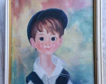 Vintage Big Eye Soulet Framed print of Little Boy with hat