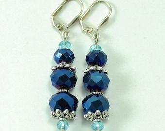 Electric Blue Crystal Earrings