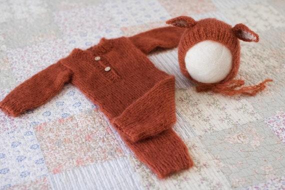 Newborn Fox Prop Knit Newborn Fox Outfit Mohair Fox Romper  9da6919282c7