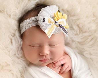 Pittsburgh Steelers Headband, Steelers Baby Headband, Black and Yellow Steelers Newborn Headband