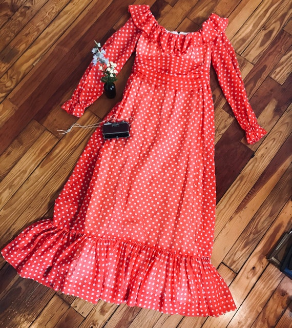 Vintage 1960s  Polka-Dot Maxi Dress