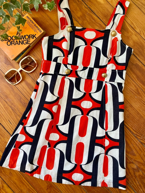 Vintage Mod Red, White and Blue Pinafore Dress  Mo