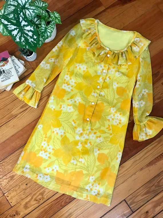 Vintage 1960's Yellow Floral Ruffle Dress