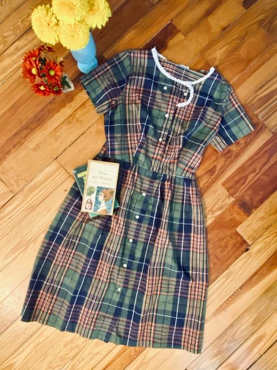Vintage 1960s Plaid Day Dress