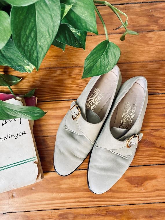 Vintage Suede Salvatore Ferragamo Mod Shoes - Size
