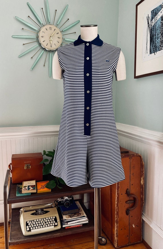Vintage Chemise Lacoste Navy + White 1960s Playsui