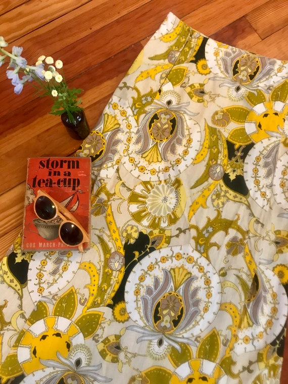 Vintage 1960s Psychedelic Print Maxi Skirt - Pucc… - image 3