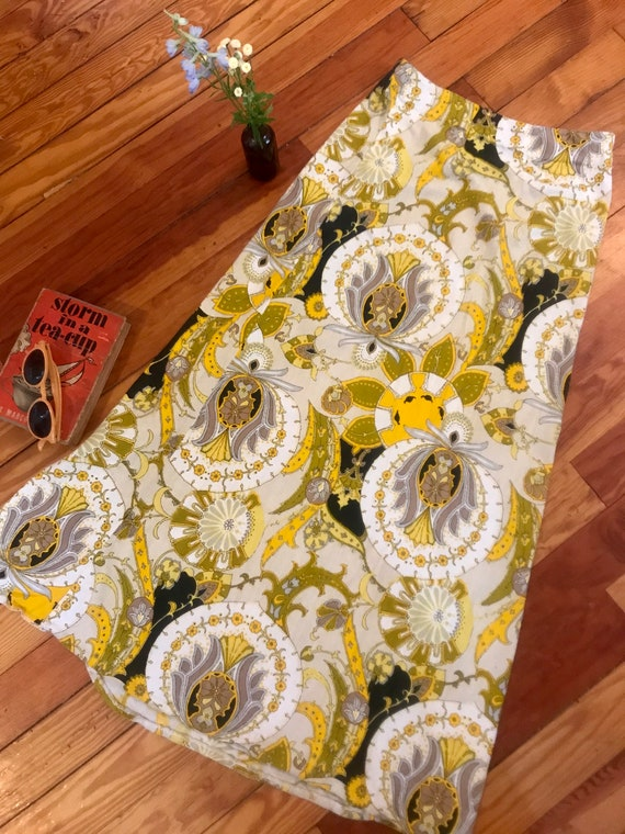 Vintage 1960s Psychedelic Print Maxi Skirt - Pucc… - image 6