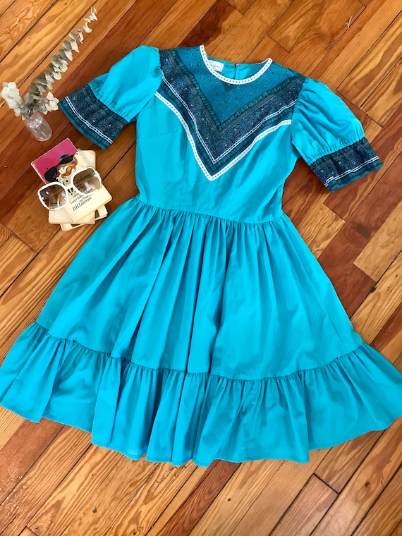 Vintage 1970s Turquoise Bandana Prairie Dress By C