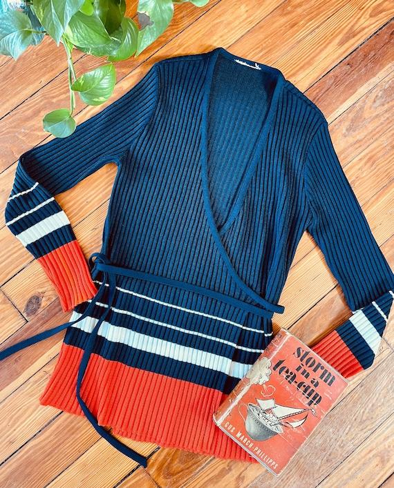 Vintage Italian Wool Viscose Striped Cardigan Nino Colombo Red Beige Women/'s Nautical Sweater Mariners Long Cardigan Medium Size