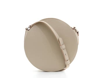 Beige round leather bag, circle bag, leather crossbody bag, cross body bag, round leather purse, leather shoulder bag, girlfriend gift,