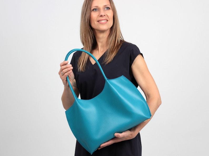 Simple Tote Bag Purse Blue Leather Tote Bag Minimalist Handbag Turquoise Shoulder Bag
