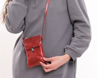 Leather iPhone crossbody case, Smartphone bag red, Ladies phone wallet purse