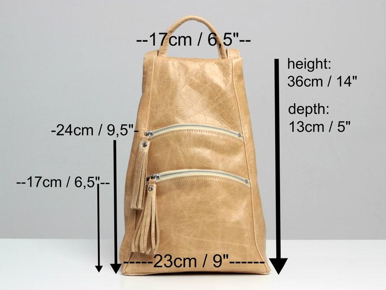 Burnt Orange Rucksack for Summer Womens Leather Backpack Purse