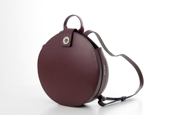 Round leather backpack purse round bag circle bag leather   Etsy 25bdc1c0ed