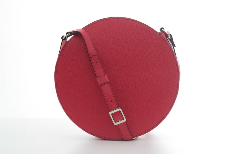 Red Circle Crossbody Bag Red Leather Round Bag Circle Purse