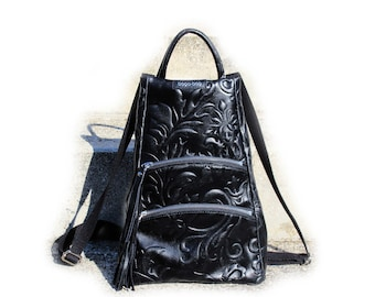 Black Mini Backpack Purse, Small Leather Rucksack for Women