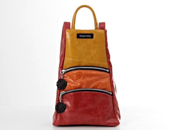Leather Backpack Purse Women Mini Rucksack Leather Colourful   Etsy 44cc575675