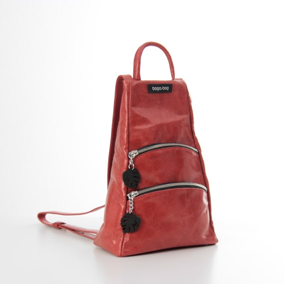 Red Leather Rucksack Small Leather Backpack for Women   Etsy 4db12db89b