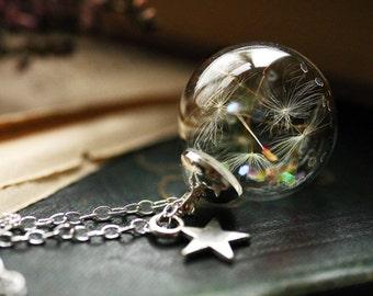 Silver dandelion necklace ,  real dandelion seeds , shooting star, Christmas star, gift for her, dandelion jewellery #D8