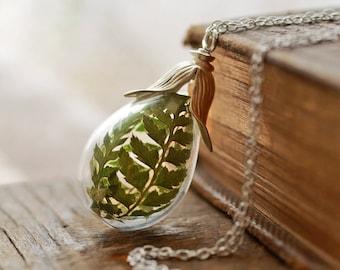 Silver fern necklace , real flower pendant , sterling silver , living locket, long glass locket, terrarium jewellery,  woodland , moss green