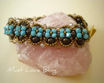 Swarovski Turquoise Crystal and Brown Pearl Bracelet