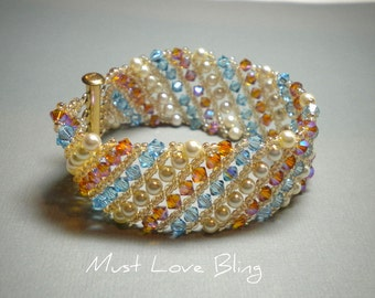 Swarovski Aquamarine and Topaz Crystal Woven Cuff