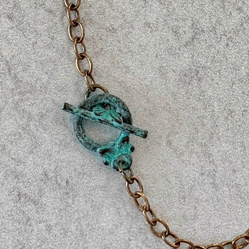 Brass OOAK Mixed Media Patina Embroidered Metal Mesh Leaf Pendant Necklace -Fiber Metal Glass Blue Turquoise Green Multicolor