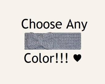 Crochet Bow Ear Warmer Knit Headband Bow Headband Crochet Bow Headband Winter Headband Crochet Headband Kawaii Headband Boho Headband