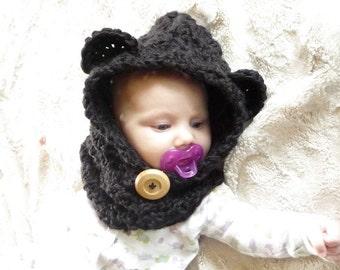 CROCHET PATTERN Bear Cowl 3-6 Months 6-12 Months 12-18 Months Toddler Child Adult Sizes Hooded Cowl Pattern Girls Womens Crochet Hood Scarf