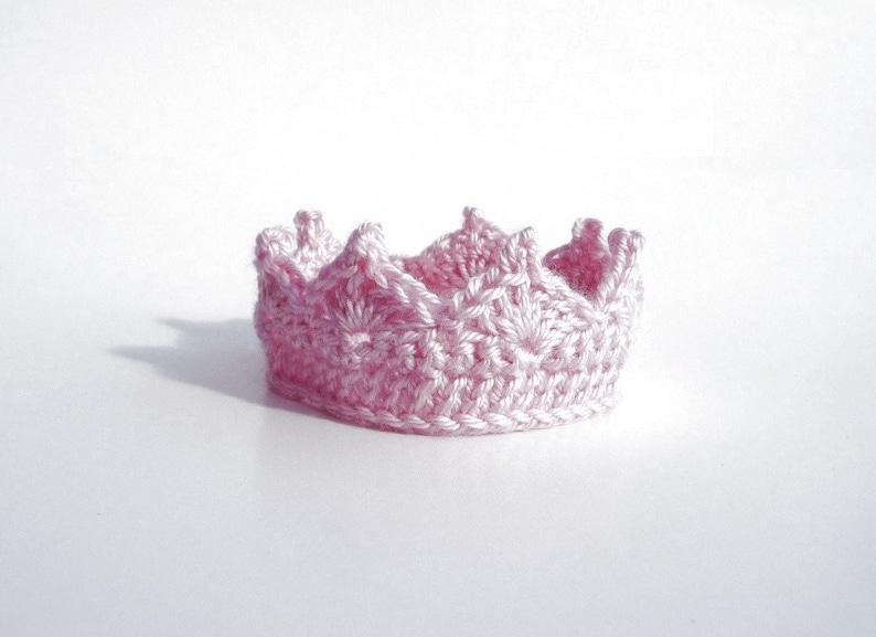 Lovely Newborn Baby Princess Prince Crown Tiara Knit Crochet Headband Hats Accessories Pink