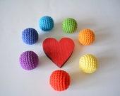 7 PCS rainbow beads balls Crocheted cotton beads Round beads Rainbow beads Wooden crochet beads Colored crochet beads Balls with a hole