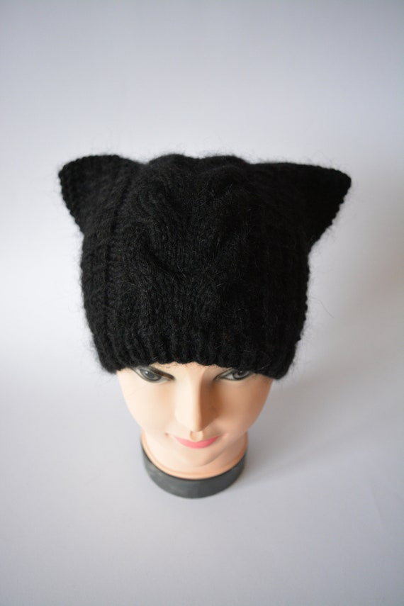 Black Hat cat Pussy hat Cat beanie Cat ears Hat with a cable  1ed7fd8868d