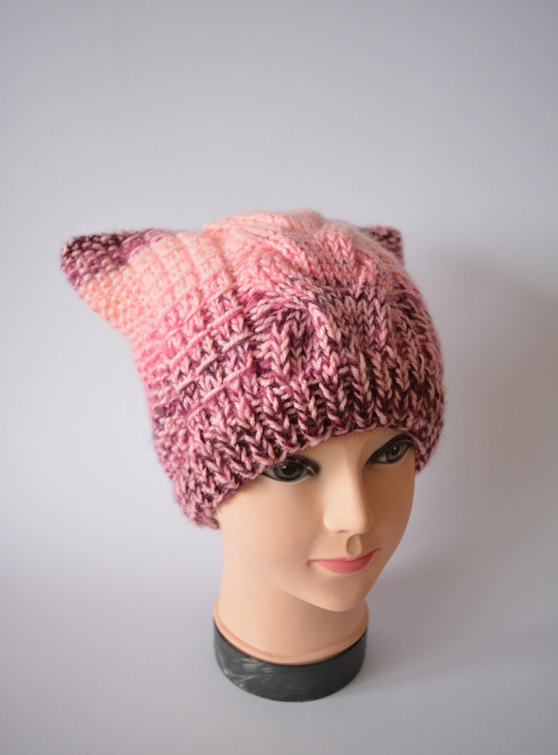 d2839453c83 Pink Cat hat Pussy hat Cat beanie Cat ears hat with a cable