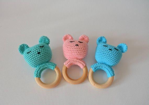 Bär Rassel Häkeln Rassel Baby Rassel Spielzeug Tierspielzeug Etsy
