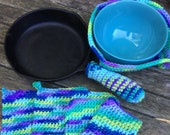 Crochet Pot Holder Set Microwave Bowl Cozy EcoSponge and Handle Cover Hot Pad Trivet Set Blue Fiesta