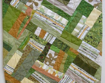 Fabric Art Wall Hanging,abstract,texture,contemporary art, fabric collage, green,orange colored materials create this handmade OOAK