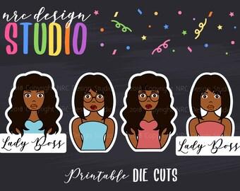 SALE Planner Die Cuts Printable, Planner Girl Die Cuts, Lady Boss Die Cuts, African American Girl, Scrapbook Die Cuts - Planner Accessories
