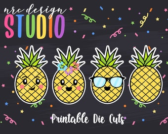 SALE Planner Die Cuts Printable, Pineapple Die Cuts, Summer Die Cuts, Printable Die Cuts, Scrapbook Die Cuts, Planner Accessories - Office